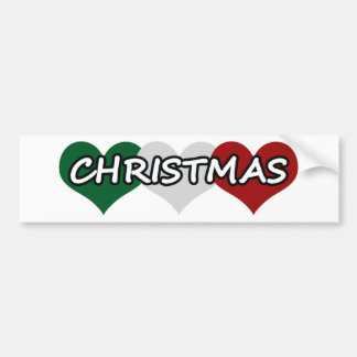 Navidad triple del corazón etiqueta de parachoque