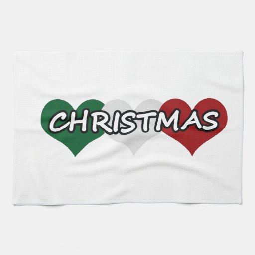 Navidad triple del corazón toalla de mano