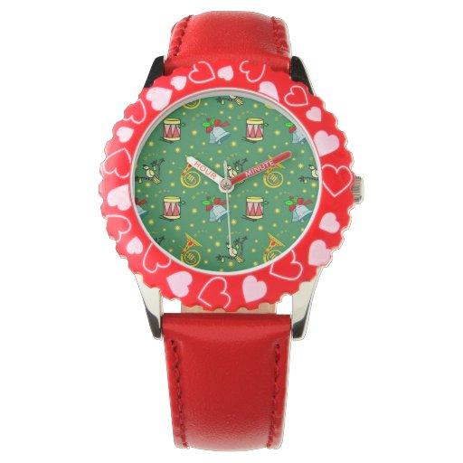 Navidad, trompas y tambores magentas relojes de mano