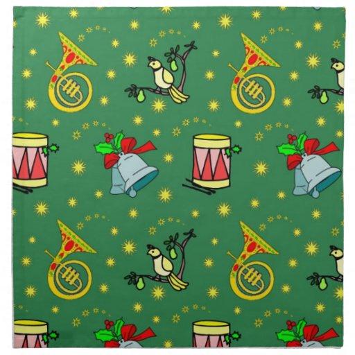 Navidad - trompas y tambores magentas servilletas de papel