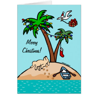 Navidad tropical amarillo 2 de Labrador Felicitacion