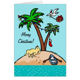 Navidad tropical amarillo de Labrador Felicitacion