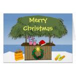 Navidad tropical de la barra de la choza de Tiki d Tarjeta