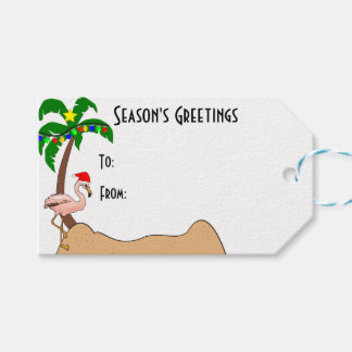 Navidad tropical de la palmera y de los flamencos etiquetas para regalos