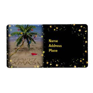 Navidad tropical etiqueta de envío