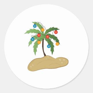 Navidad tropical pegatina redonda