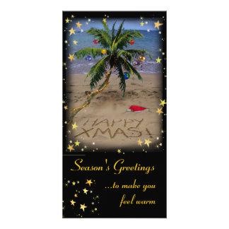 Navidad tropical tarjetas personales con fotos