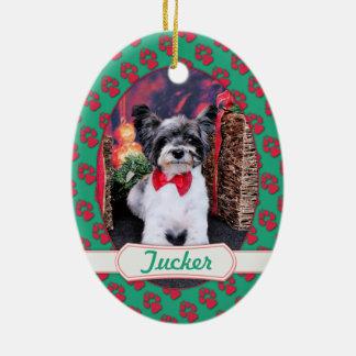 Navidad - Tucker - Yorkie X Adorno Ovalado De Cerámica
