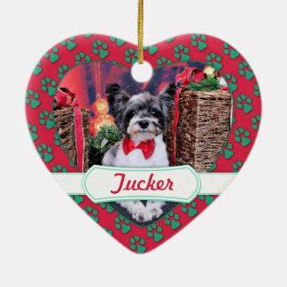 Navidad - Tucker - Yorkie X Adorno De Cerámica En Forma De Corazón