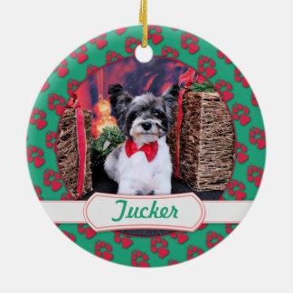 Navidad - Tucker - Yorkie X Adorno Redondo De Cerámica