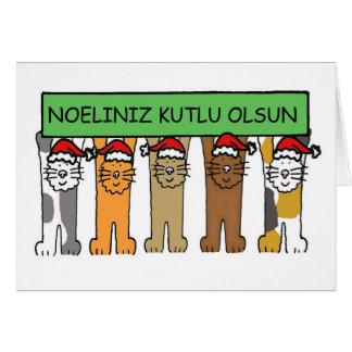 Navidad turco con los gatos en los sombreros de tarjeta de felicitación