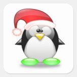 Navidad Tux Pegatina Cuadrada