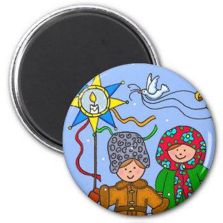 Navidad ucraniano Carollers Imán Redondo 5 Cm