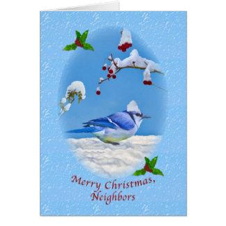 Navidad, vecinos, pájaro azul y nieve tarjeta