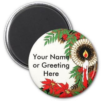 Navidad vela y Poinsettia del art déco Imán De Frigorifico
