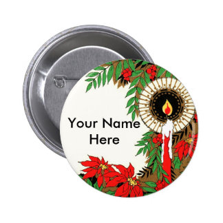 Navidad vela y Poinsettia del art déco Pin