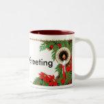 Navidad vela y Poinsettia del art déco Taza De Café