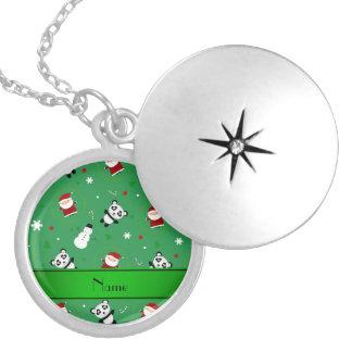 Navidad verde conocido personalizado de santas de pendiente