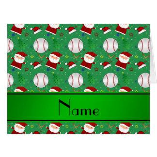 Navidad verde conocido personalizado del béisbol tarjeta de felicitación grande
