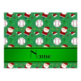 Navidad verde conocido personalizado del béisbol postal