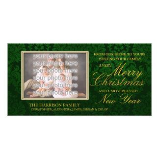 Navidad verde del damasco plantilla para tarjeta de foto