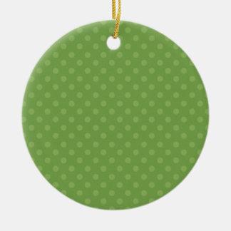 Navidad verde del personalizado del fondo del adorno navideño redondo de cerámica
