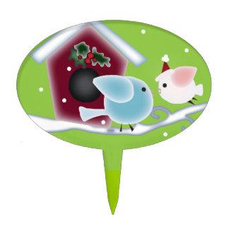 Navidad verde lindo de los pájaros del amor del mu figura para tarta