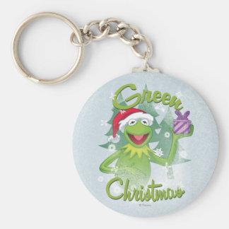 Navidad verde llavero redondo tipo pin