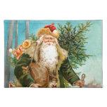 Navidad verde Papá Noel del terciopelo del Victori Mantel
