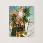 Navidad verde Papá Noel del terciopelo del Victori Puzzle