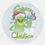Navidad verde pegatinas redondas