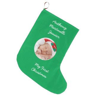 Navidad verde personalizado que almacena con la calcetín navideño grande