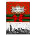 Navidad verde roja de Quatrefoil del horizonte de Tarjeta De Felicitación
