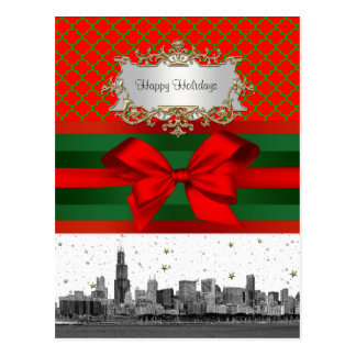 Navidad verde roja de Quatrefoil del horizonte de Tarjeta Postal