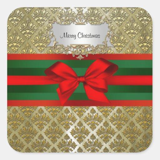 Navidad verde roja de Ribbn del damasco de Champán Calcomanías Cuadradass Personalizadas