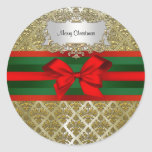 Navidad verde roja de Ribbn del damasco de Champán Etiquetas Redondas