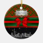 Navidad verde roja del arco del damasco #2 del hor adorno para reyes