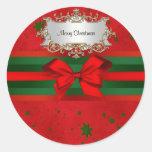 Navidad verde rojo festivo de la cinta del arco de pegatina redonda