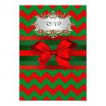 Navidad verde rojo moderno de la cinta del zigzag invitación 8,9 x 12,7 cm