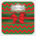 Navidad verde rojo moderno de la cinta del zigzag colcomanias cuadradases