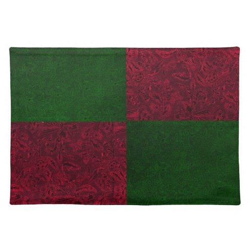 Navidad verde rojo retro Placemats Mantel