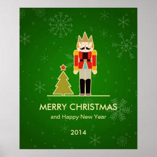 Navidad verde - saludo del día de fiesta del casca póster