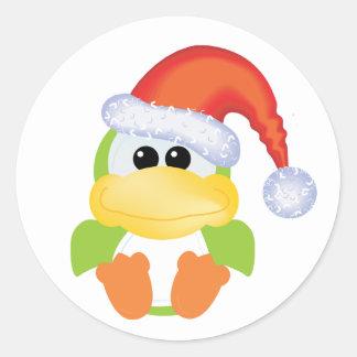 Navidad verde santa del pato de Goofkins Pegatinas Redondas