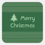 Navidad verde simple de la raya calcomania cuadradas personalizadas