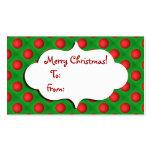 Navidad verde y etiqueta roja del regalo de la chu tarjetas de visita
