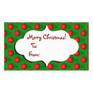 Navidad verde y etiqueta roja del regalo de la tarjetas de visita