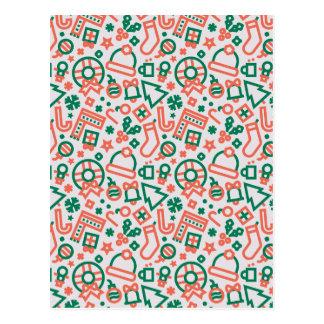 Navidad verde y modelo rojo de los iconos postal
