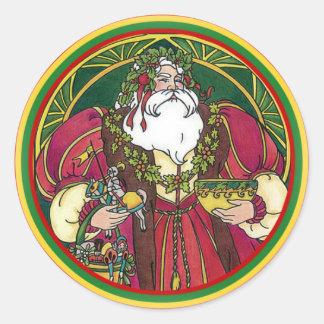 Navidad verde y pegatina rojo de San Nicolás