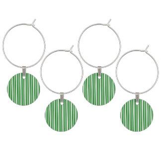 Navidad verde y rayas blancas identificador de copa