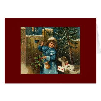 navidad, vintage, perros, niños felicitación